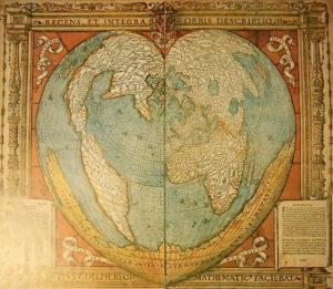 Weltkarte als Herz 1536